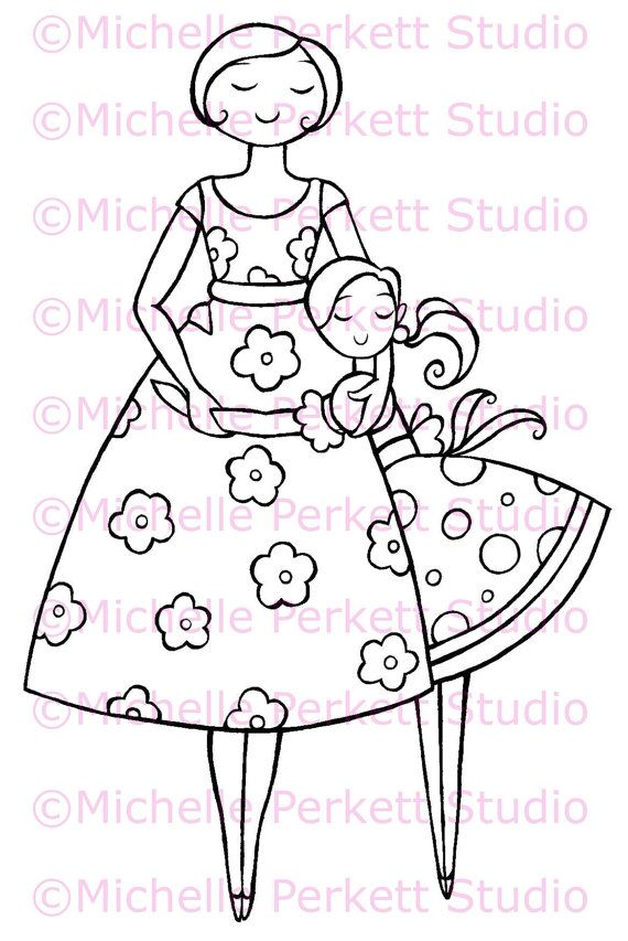 Digital Stamp Image Thanks Mum Mom Mother's Day Daughter Scrapbooking Cardmaking