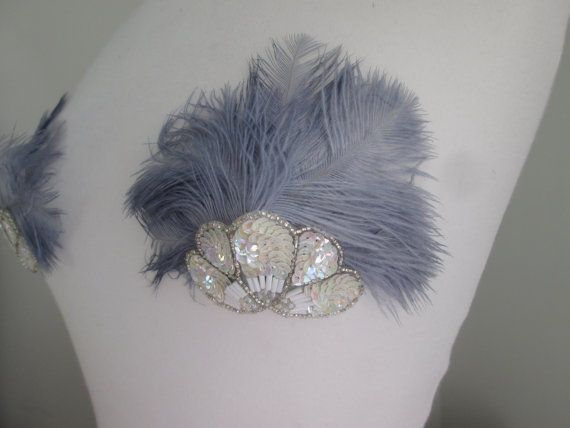 Grey ostrich feather nipple pasties with by GlitterCowboyCapes