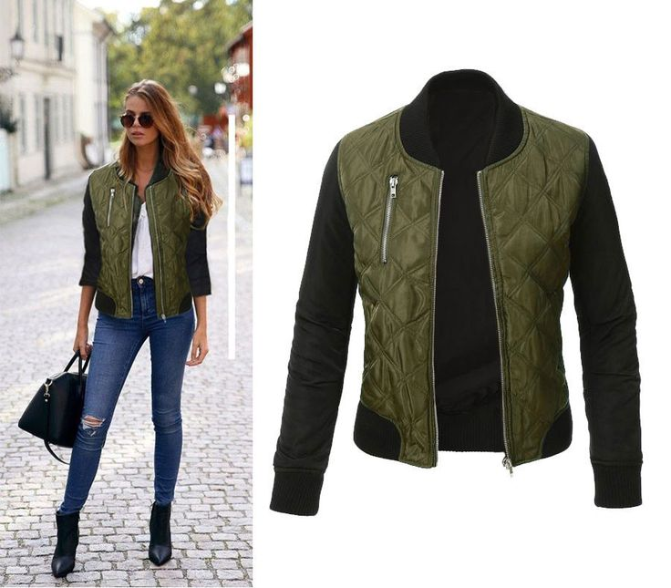 Ladies Casual Contrast Quilted Short Bomber-Style Jacket S-XL 2 Colors