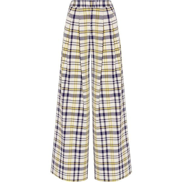 ADAM LIPPES   Pleated plaid cotton wide-leg pants ($345) ❤ liked on Polyvore featuring pants, adam, tartan trousers, white wide leg pants, wide leg cotton pants and pleated wide leg trousers