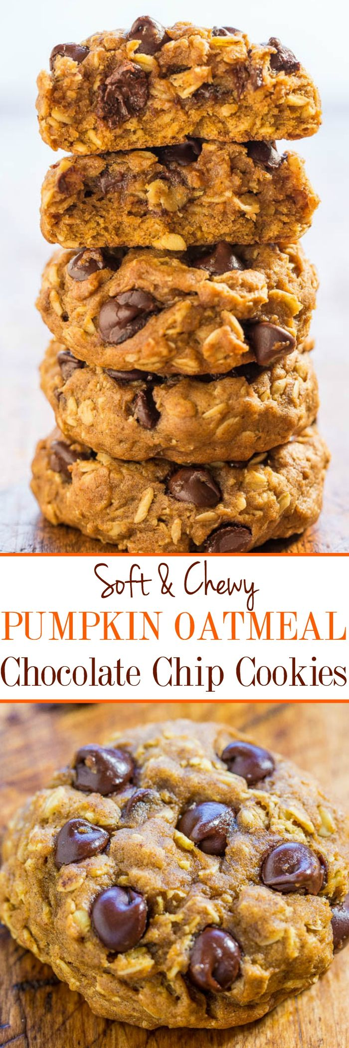 Soft and Chewy Pumpkin Oatmeal Chocolate Chip Cookies -  A thick, hearty oatmeal cookie and a soft, chewy pumpkin cookie all in one!! Lots of chocolate, not at all cakey, easy, and your new favorite pumpkin cookie recipe!!: