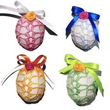 Crochet Easter Egg Cover, Set of 4 Handmade Easter Decoration With Satin Ribbon