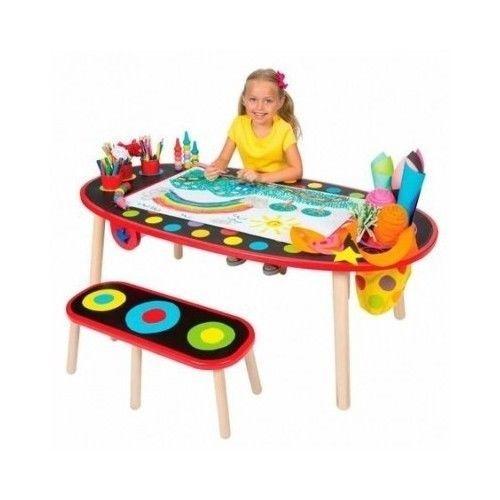 Kids Art Table Desk Bench Set Activity Drawing Furniture Craft Playroom Wooden in Crafts, Kids' Crafts, Drawing & Painting, Other Kids' Drawing & Painting | eBay