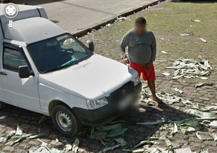 Google Street View captures another man peeing.  Not too much to blur there :)
