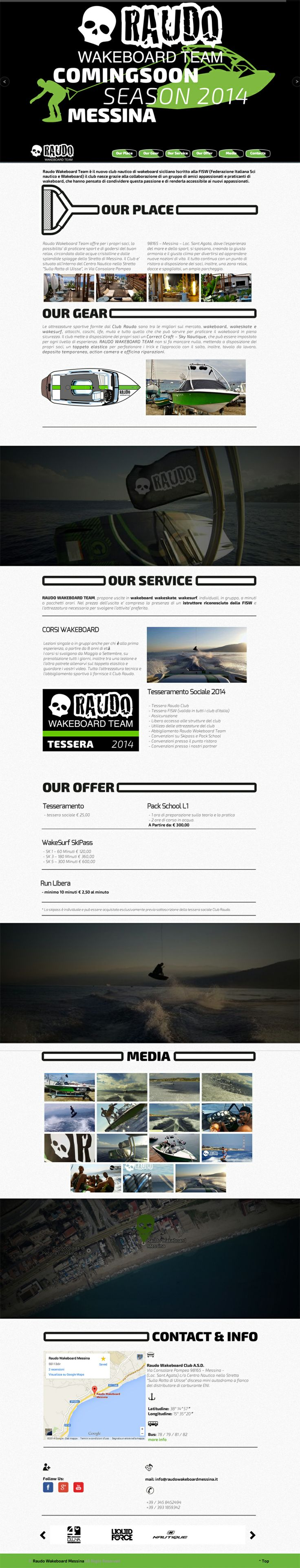 Sito web di presentazione per Raudo Wakeboard Team - Messina - HomePage - Realizzato con Wordpress- Anno 2014