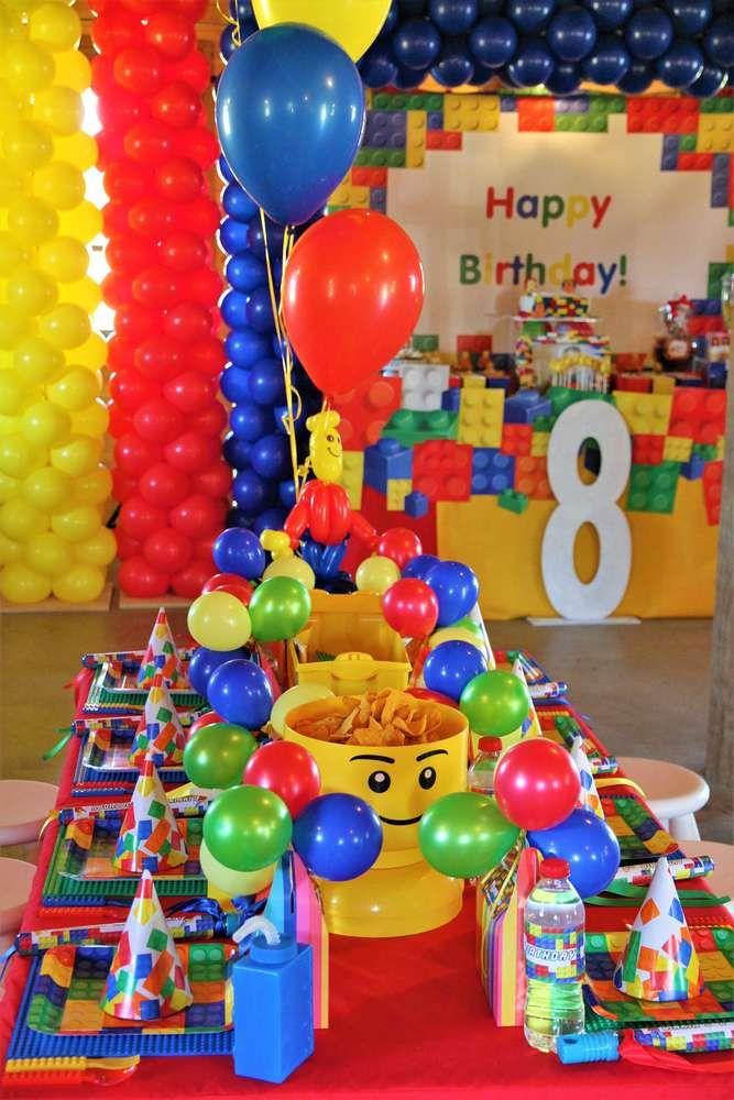 Linkin S 8th Birthday Lego Party Catchmyparty Com In 2020 Lego Party Decorations Lego Birthday Lego Themed Party