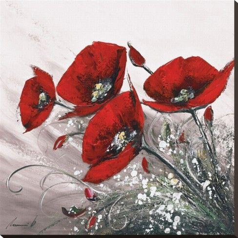 Bouquet De Coquelicots II Reproduction transférée sur toile par Olivier Tramoni sur AllPosters.fr