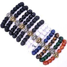 US $1.96 Fashion Lion Bracelet Black Natural Ag. stone Lava stone Marble Stone Men Women Beaded Elastic Strand 8mm bead Bracelet MBC01. Aliexpress product