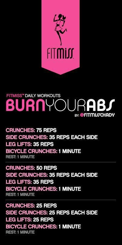 FitMiss Burn Your Abs Workout #abs #workout Get Sexy Abs with our simple Workout…