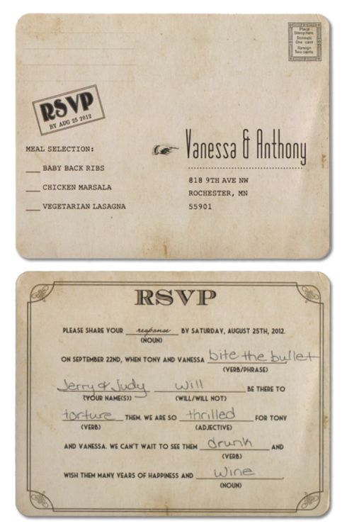 Posts About Mad Lib Wedding Rsvp On Mn