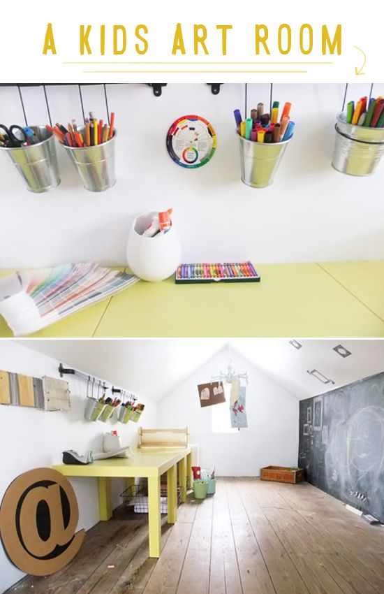 kids art room in a playhouse: Playrooms Ideas, Art Spaces, Art Studios, Plays Rooms, Kid Art, Chalk Boards, Chalkboards Wall, Kids Rooms, Kids Art Rooms