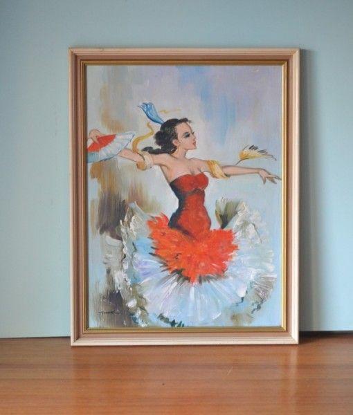 Vintage Spanish Flamenco dancer oil painting Thomas
