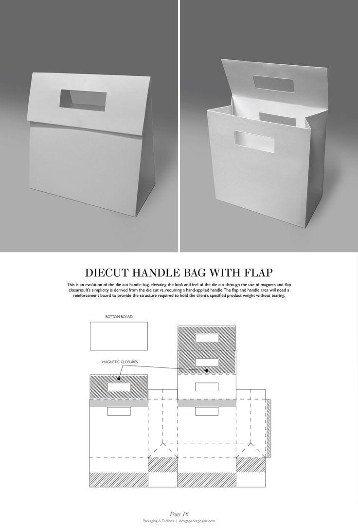 Diecut handle Bag with Flap - Packaging & Dielines: The Designer's Book of Packaging Dielines