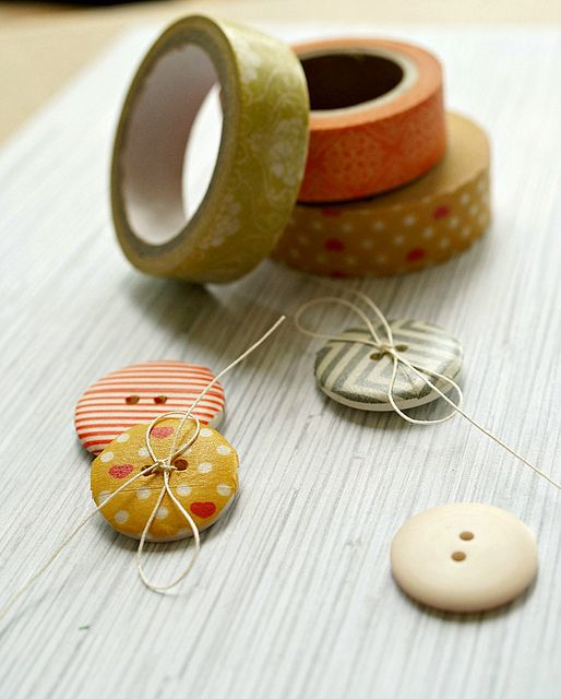 Use washi tape to customize buttons.