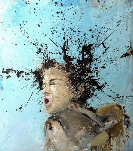 Mutation #3 - Oil on linen canvas - finger painting - cm.90x80 - 2010  (private collection) www.fabiousvardi.com