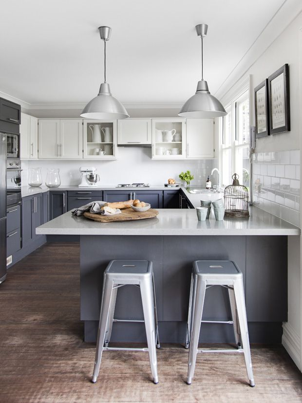 THIS IS IT!!! Kitchen to-do:  White on top, grey on bottom, white subway tiles (add grey grout), add butcher block counter tops and yellow ceiling