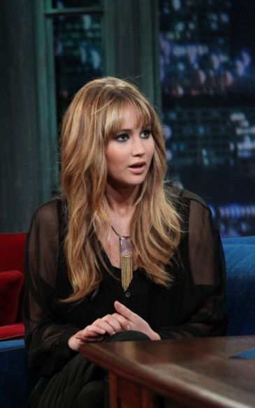 Jennifer Lawrence of the Hunger Games wearing a House of Lavande pendant necklace