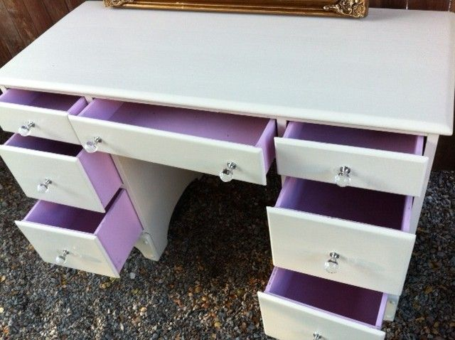 Little girls white dresser with pink drawers. By AnthonyMarieFinds.com