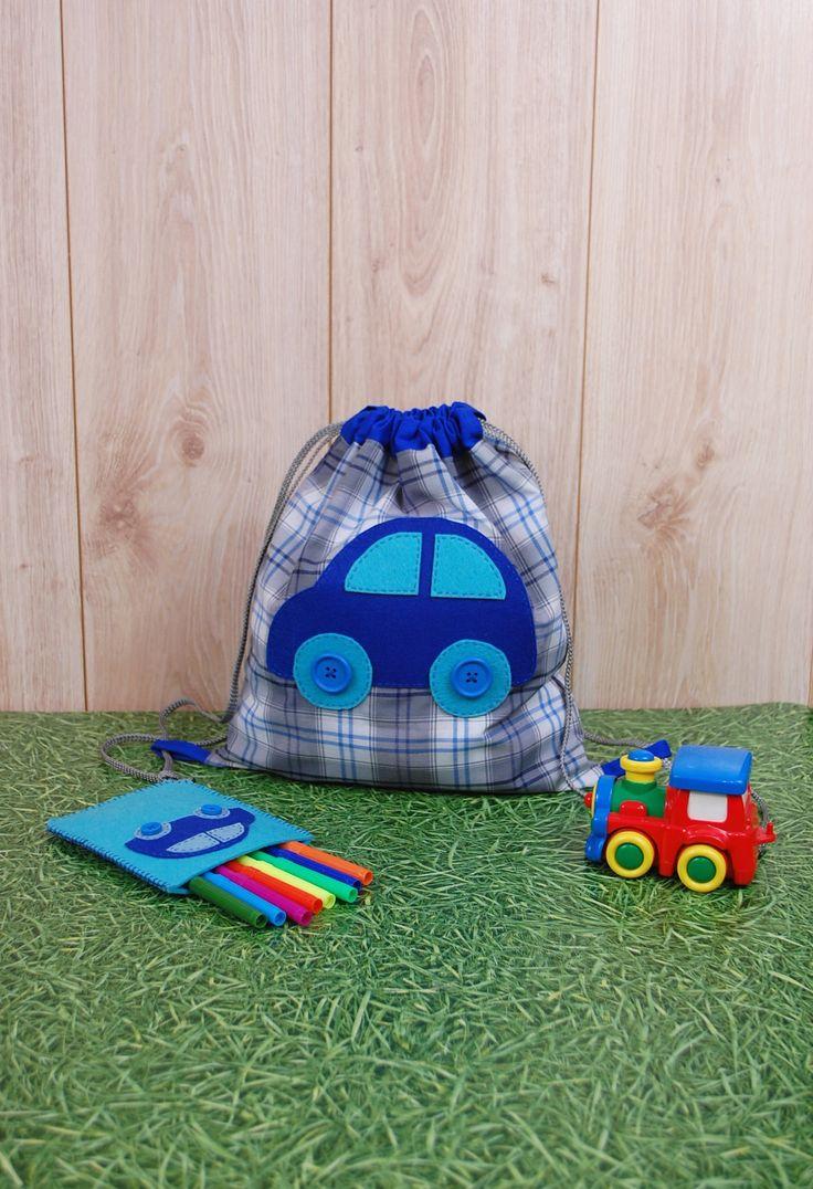 Boys' Backpack and  Pen Case http://etsy.me/2DZqrTx #etsy #airyfairybags #backpack #blue #boysbackpack #pencase #preschool #cars #beachbag #kidsbag #feltbag #cinchbag #boysbag #sportbag #pencilcase #toybag #travelbag #minibackpack #toddlerpurse