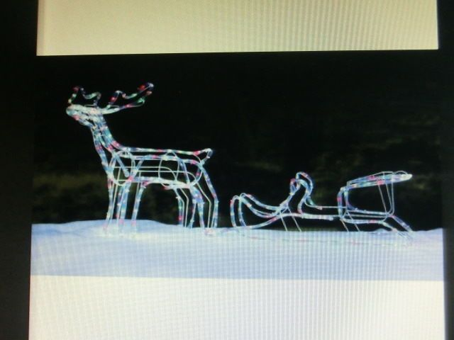 New 3D Christmas Reindeer & Sleigh Rope 288 LED Light Silhouette Indoor Outdoor