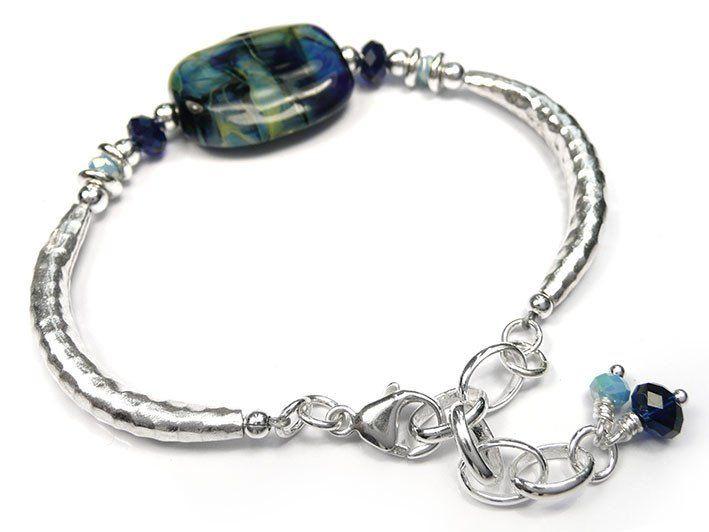 Lampwork Glass Bracelet - River Wild