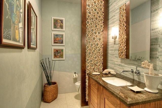 badezimmer streichen ideen salbeigrün dekorativer raumteiler