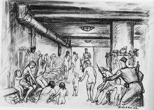 dessin David Olère crématoire K III déshabillage Auschwitz Birkenau
