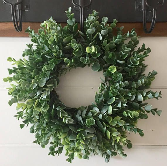 Farmhouse Faux Greenery Wreath Frosted Eucalyptus Wreath Farmhouse Decor Small Wreath Gallery Wall Wreath Modern Farmhouse Decor Greenery Wreath Small Wreaths Farmhouse Wreath