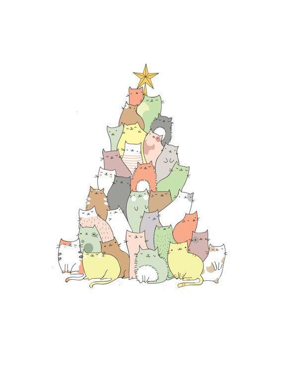 Cette carte de Noël adorable dispose d'un arbre de Noël déborde de chats mi