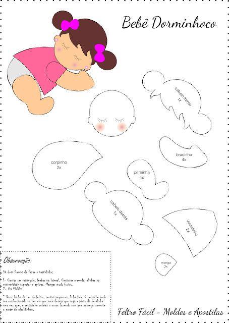 menina nanando, bebê dormindo, bebê nanando, bebê dormindo em feltro molde                                                                                                                                                      Mais