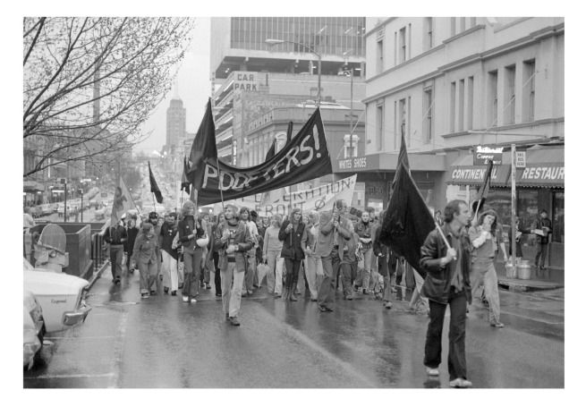 """""""POOFTERS!"""" Ponch Hawkes. 'Gay Liberation march, Russell Street, Melbourne' Melbourne, 1973"""