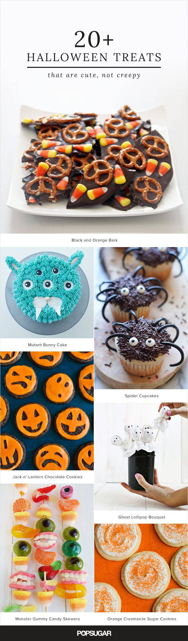 Whether you're hosting a Halloween party, sharing treats with your officemates, or looking for a fun Fall activity, you'll want to remember at least a few of these cute (not creepy) recipes. The treats range from ghost marshmallow treats to jack-o'-lantern cake pops and are sure to captivate your imagination.