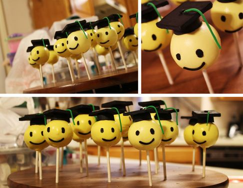 More Graduation Cake Pops – Heads with Reeses Hats & Godiva Chocolate Caps [Click Photo for Recipe]
