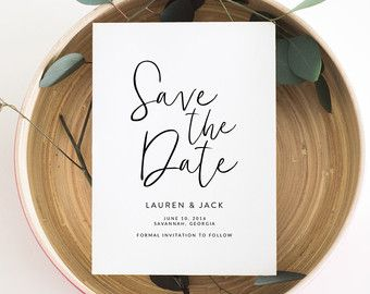 ROSE GOLD Save The Date Calligraphy Save The Date by P27Creative