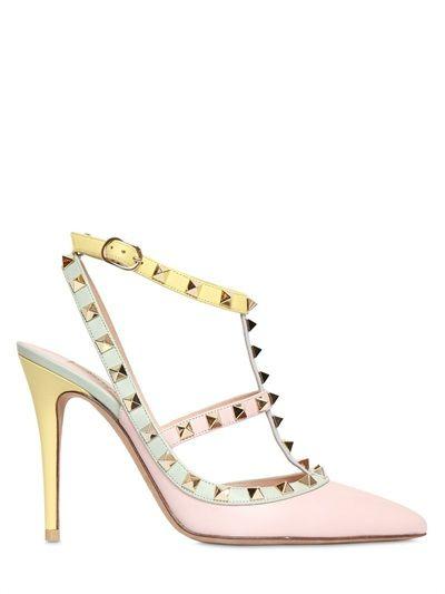 Valentino Studded Heels #valentino #2015 #shoes #heels #studded #luisaviaroma #watercolor #mint #pastel
