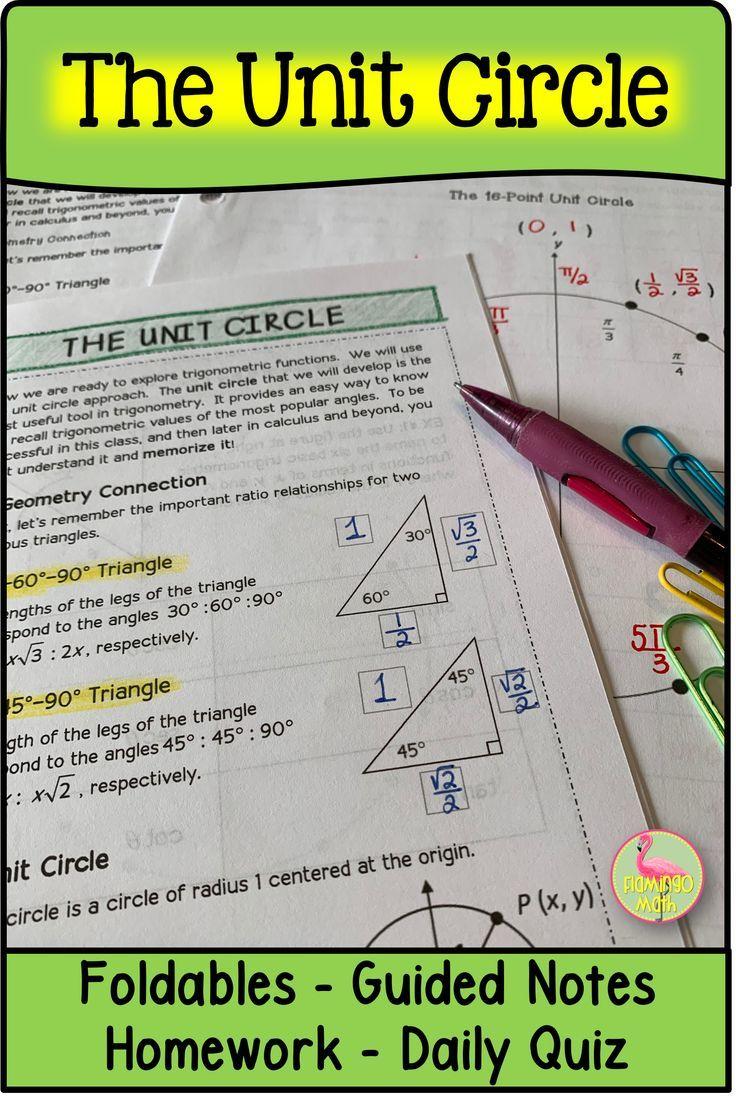 The Unit Circle Precalculus Unit 4 Distance Learning Precalculus Trigonometry Smart Board Lessons