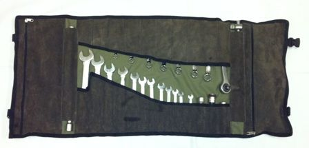 Leather and Canvas roll up tool bag