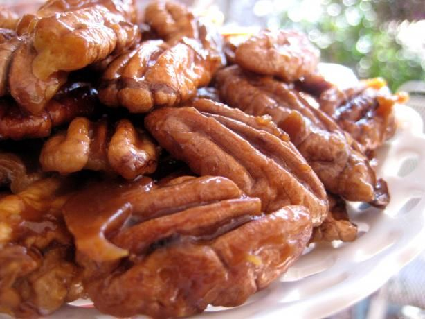 Quick Candied Pecans. I made these and substituted half the brown sugar for maple syrup and added to shakes of cinnamon