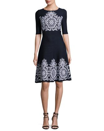 Nellore+Jacquard+Knit+Flared+Dress,+Navy+by+St.+John+Collection+at+Neiman+Marcus.