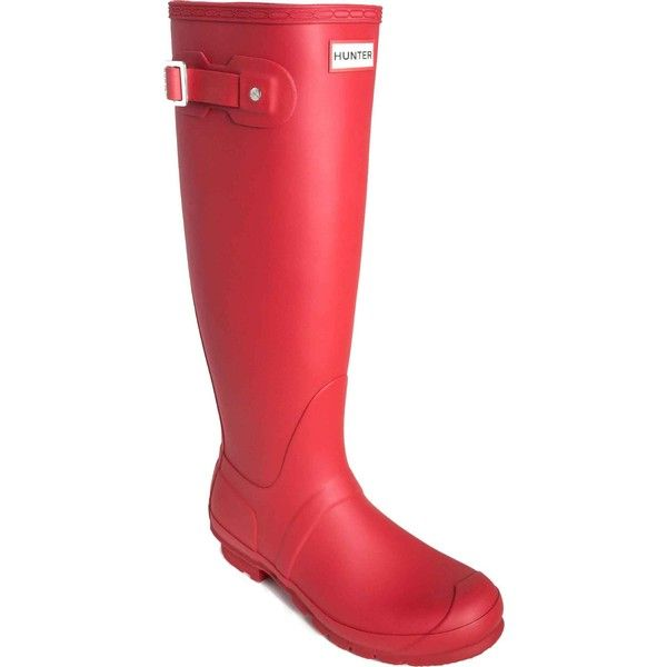 Hunter Women's Original Tall Rain Boot Military Red Rain Boots ($150) ❤ liked on Polyvore featuring shoes, boots, red, rubber boots, wellington boots, waterproof boots, tall boots and tall red boots