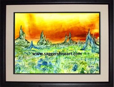 """Mystical Landscape"" - Wax painting"