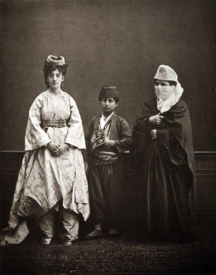 Turkish women of Constantinople (İstanbul) wearing indoor dress, Pascal Sebah, Turkey