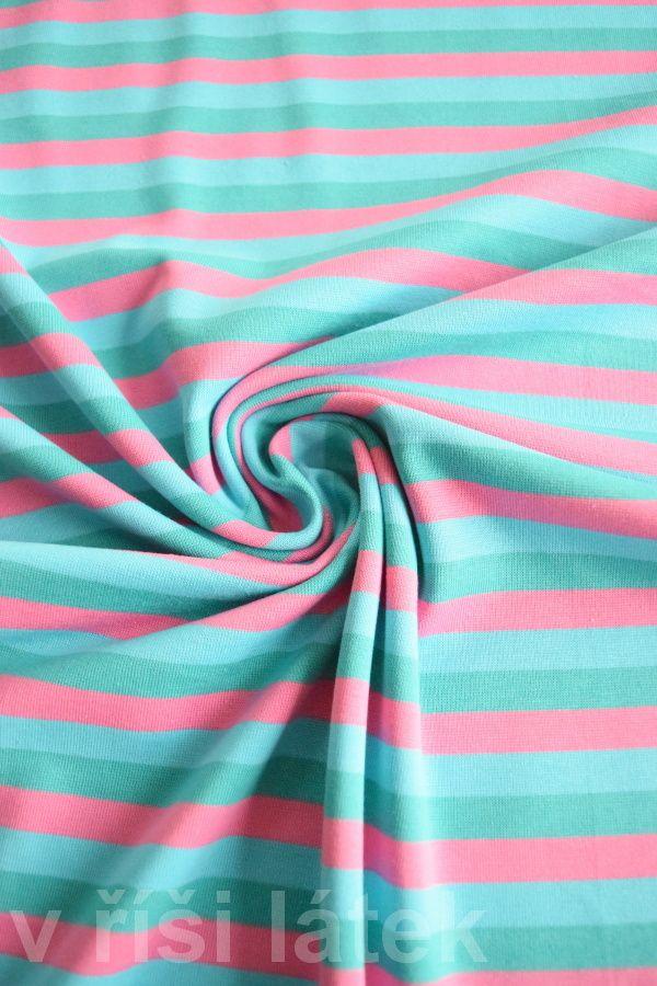Finerib el. bavlna – proužek růžový, tyrkys, smaragd - http://vrisilatek.cz/produkt/finerib-el-bavlna-prouzek-ruzovy-tyrkys-smaragd/