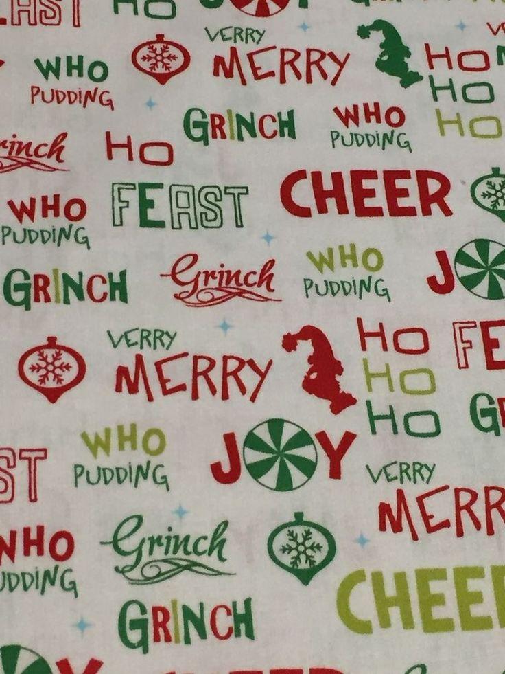 Free Ship US How the Grinch Stole Christmas 100% cotton fabric yard WORDS #RobertKaufmanFabrics