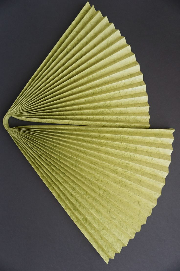 "Simple structures can hold such beauty... This folded paper structure is made of Obonai Feather in green, 21"" x 31"". It's a lightweight at 45g, but very crisp, therefore holds a fold very well. ©Jacqueline Harris 2015 theletterarian.com"