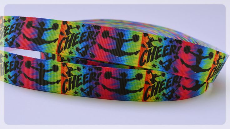"Colorful Cheer Squad Girls Sports Printed Grosgrain Ribbon 7/8"" wide Scrapbooking HairBows Parties DIY Projects"