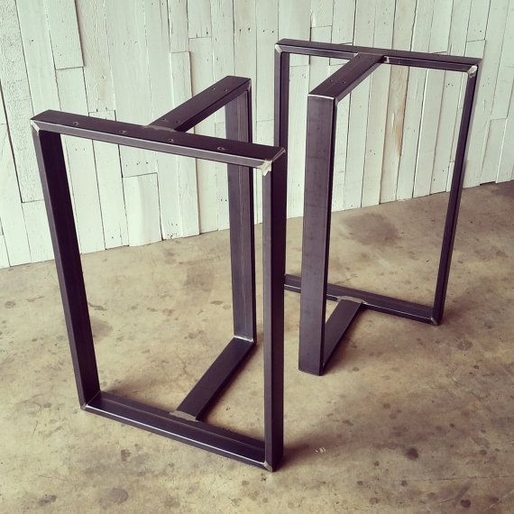 This listing is for a SET of custom Tribeca metal pub height table legs. They are typically 34 - 40 wide, 20 deep & 36 - 40 tall, but can be