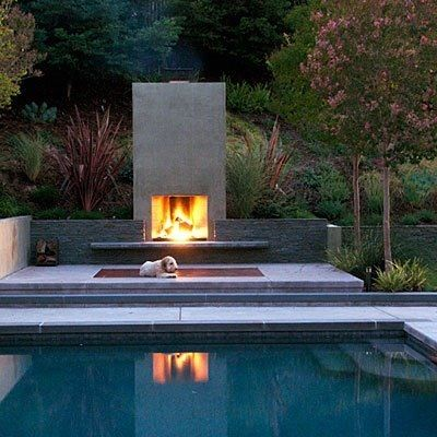 modern outdoor fireplace | { Fireplace | Built-ins ...