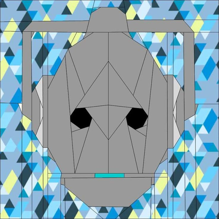 Cyberman Block 9 of Doctor Who Quilt Along free paper piecing pattern on Craftsy at http://www.craftsy.com/pattern/quilting/home-decor/cyberman-block-9-doctor-who-qal/67018