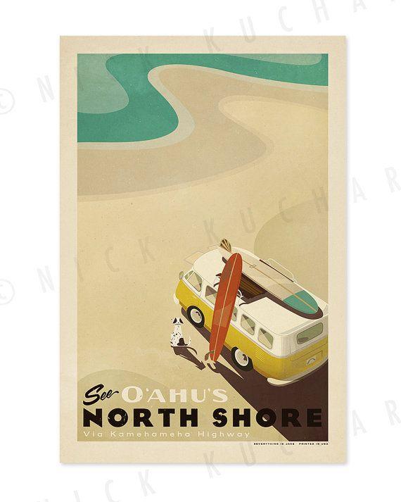 See Oahu's North Shore - 12 x 18 Retro Hawaii Surfing Print